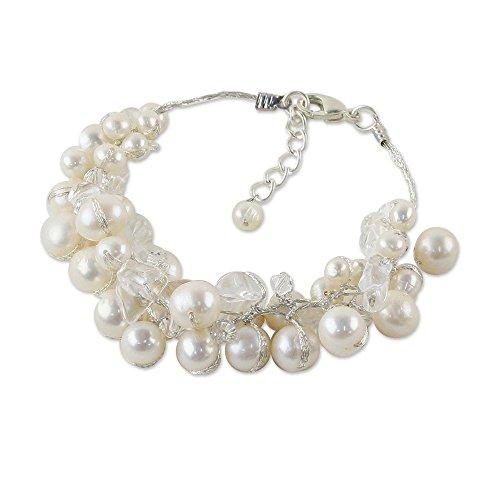 NOVICA Multi-Gem White Cultured Freshwater Pearl Sterling Silver Plated Bridal Bracelet, Snow Belle'