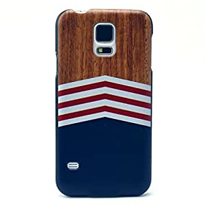 LUOLNH Wood Grain White Red Stripe Black Bumper Hard Case Back Cover Protector Skin For Samsung Galaxy S5 i9600 (not fit Galaxy S5 mini 2014)