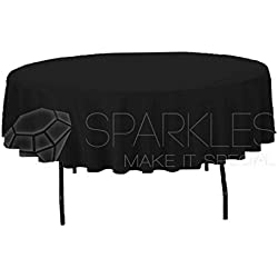 "Sparkles Make It Special 10-pcs 90"" Inch Round Polyester Cloth Fabric Linen Tablecloth - Wedding Reception Restaurant Banquet Party - Machine Washable - Choice of Color - Black"