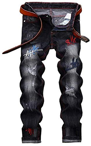 Americani Slim Ischen Fori Cher Comodo New Cotton Jogging Battercake Tide Nero Black Men's Sottile Da Ricamo Jeans Uomo E Motociclista Piccolo Retro qn8Xqa4w