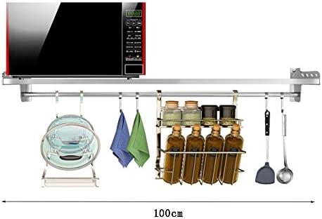 ALF Rack de almacenamiento de microondas Estante de cocina de acero inoxidable, estante de almacenamiento de condimentos en horno de microondas montado en la pared estante de almacenaje de cocina en m: