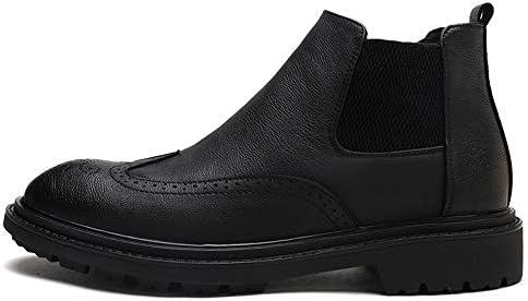 男性用ハイトップブローグブーツスリップオンスタイルOXレザーラウンドトゥウィズサイドエラスティックストラップアンクルブーツ 快適な男性のために設計