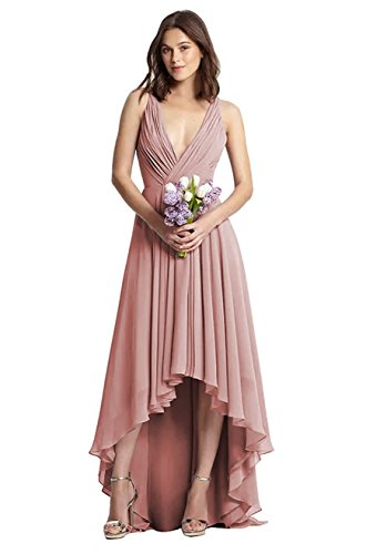 3a380b744a1 Home Brands YORFORMALS Dresses YORFORMALS Women s V-Neck High Low Chiffon  Bridesmaid Dress Long Ruched Bodice Evening Gown Size 2 Dusty Rose.   