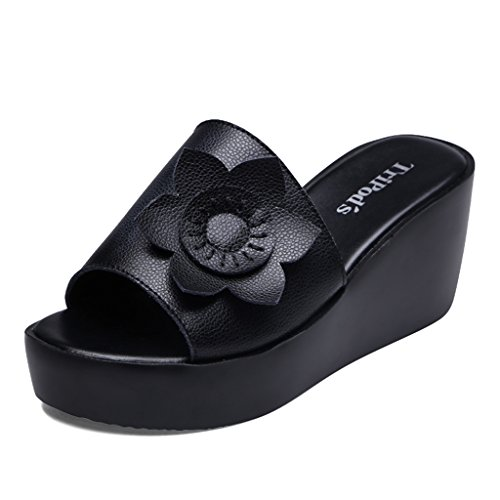 Sandals Female Summer Outer Wear Open Toe Slippers Wedge High Heels Polyurethane Thick Outsole Casual Shoes Black jJlTQTHbv6