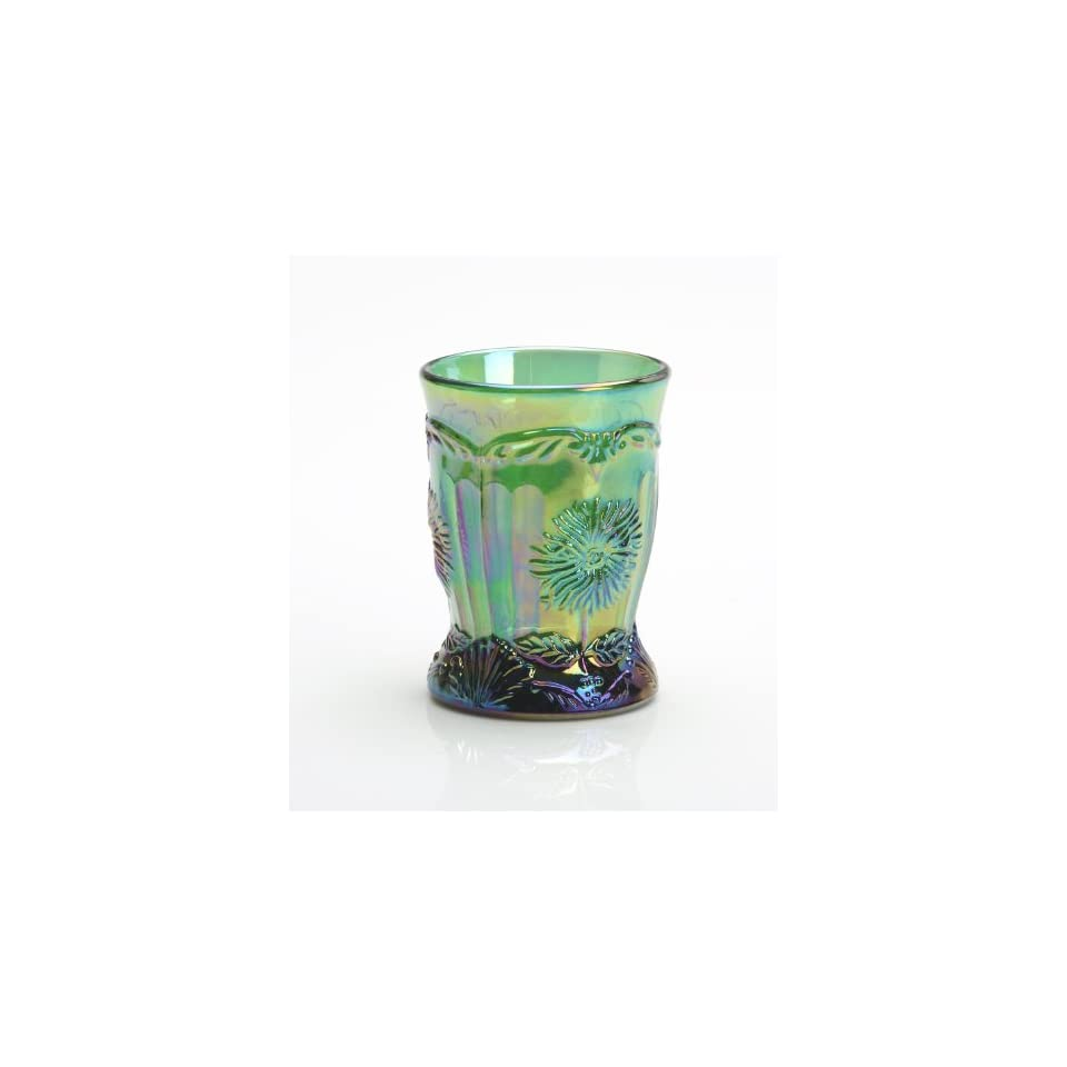 Hunter Green Carnival Glass Dahlia Flower Pattern Tumbler Made By Hand in Ohio