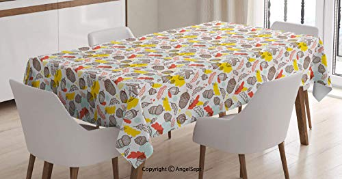 Oil-Proof Spill-Proof Rectangle Tablecloth,Boho Style Silhouettes of Acorns and Leaves Ornamented with Oriental Design Motifs,Great for Buffet Table,Multicolor,5270 inch Acorn Back High Chair