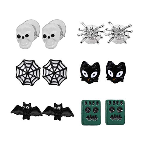 XOCARTIGE 6 Pair Halloween Earrings Set Skull Bat Spider Web Cat Stud Earrings Gift Jewelry Set for Women (A Skull Web) for $<!--$8.89-->
