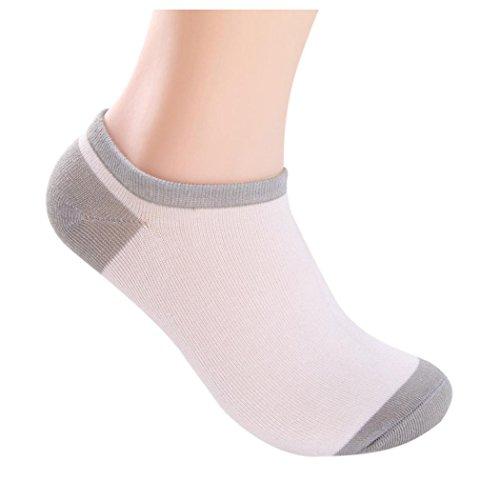 Men Boat Socks, Inkach 5 Pairs Men Bamboo Fiber Loafer Boat Socks Liner Low Cut Socks (White)