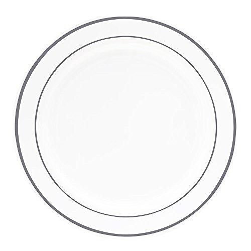 50 (10 Inch) Silver Rim Plastic Dinner Plates - Heavy Plastic Dinner Plates