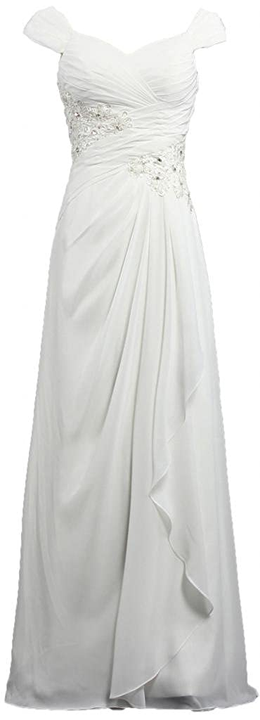 ANTS Women's Cap Sleeve Chiffon Long Mother the Bride Dresses T424-MFN