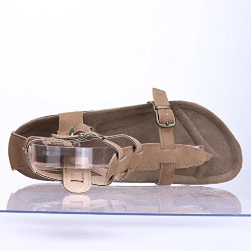 Cheville Femmes Boucles Plat attaché Sandales Zahuihuim Brun Pantoufles Plage Cross Automne Mode Chaussures qAUYIw
