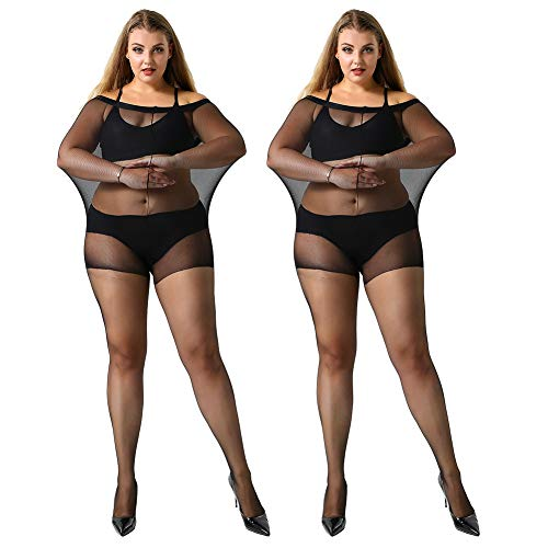 MANZI Women's 2 Pairs Control Top Pantyhose High Waist Plus Size Tights Ultra-Soft