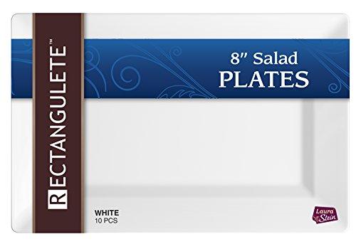 (Rectangulete 10'' Rectangle White Salad - Appetizer Plates, Disposable, Hard Plastic, Elegant Party Plates. 10 Party Appetizer - Salad Plates Per Package Pack of 2)