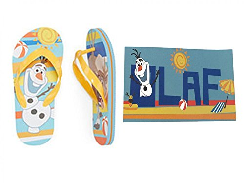 Disney Frozen Olaf & Sven Flip-Flop Sandals and Beach Towel Set