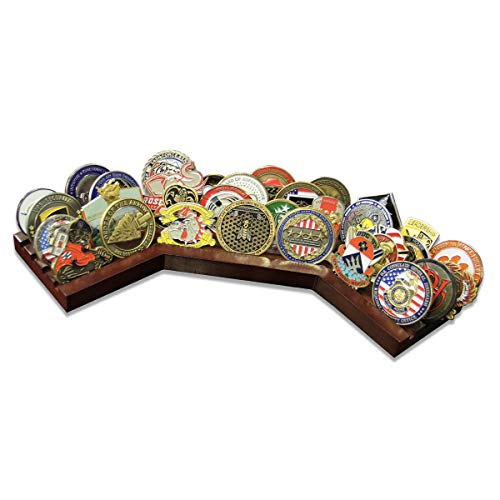 Display Coin Row (4 Row Challenge Coin Holder Stadium - Military Coin Display Stand - Amazing Military Challenge Coin Holder - Holds 30-36 Coins 4 Rows Made in The USA!)