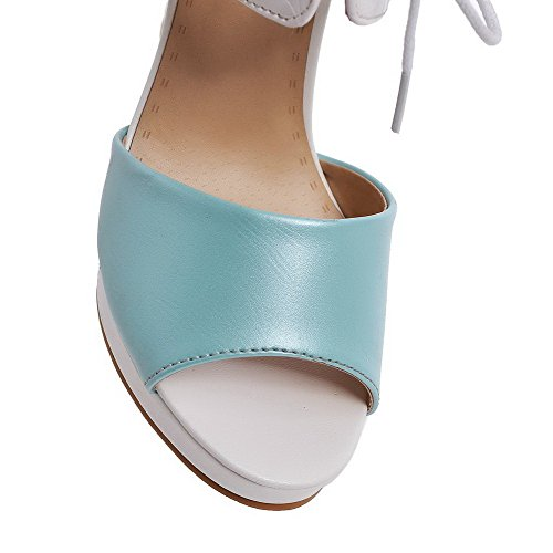Amoonyfashion Womens Lace-up Open Teen Hoge Hakken Pu Effen Sandalen Blauw