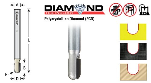 PCD Amana Tool DRB-212 Polycrystalline Diamond Tipped Up//Down Shear R//H Direction 5//8 D x 1 Inch CH x 1//2 SHK Router Bit
