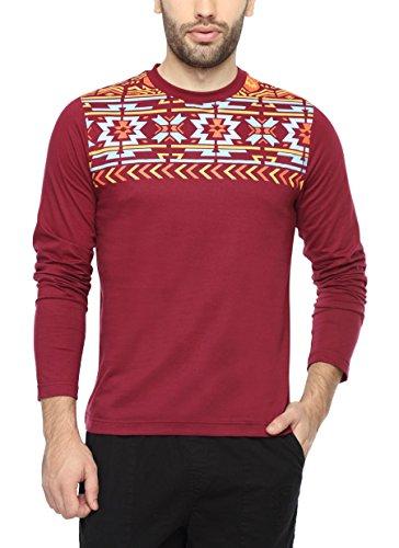 PepperClub Men's Cotton Round Neck Full Sleeve Tshirt – Aztec Print