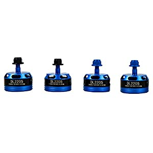 DLFPV 4pcs DL2205 2300KV RC Brushless Motors with High Premium and Professional Test for FPV Quadcopter Including 2CW & 2CCW- Blue