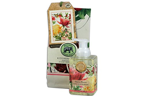 Michel Design Works Kitchen Towel and Foaming Hand Soap Bundle (Morning Blossoms)