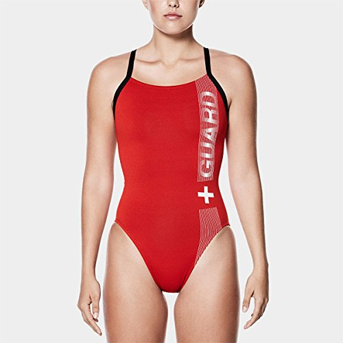 NIKE Women's Performance Guard One Piece (Red, 34)
