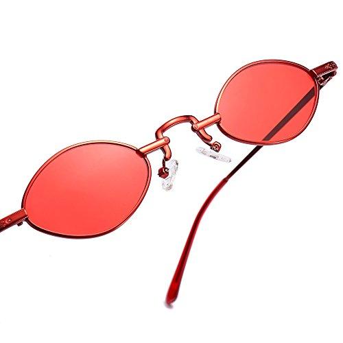 mujer de rojo vintage sol Sunglasses pequeña hombre pequeño sol de para estructura unisex gafas oro metálica Gafas UV400 TL de bastidor wESwUvq