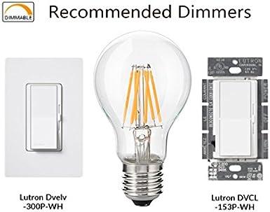 Clear Warm White 2700K 110-120V AC Medium Screw E26 Base LED Edison Bulb 60W Equivalent Bulbright Vintage LED Filament Bulb A19-6W LED Light Bulb 6 Watts Dimmable 6 3PCS//Pack