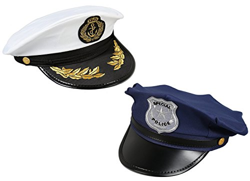 Pc Police Costume (Costume Headwear - Police, Sea Captain Hats for Halloween, Pretend Play - 2 Pc Set)