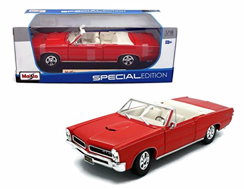- Maisto New 1:18 W/B Special Edition - RED 1965 Pontiac GTO Convertible Diecast Model Car