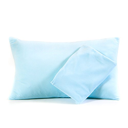 Set of 2 Blue Pillowcases, Snuggly Plush Covers for Toddler/Travel Pillows