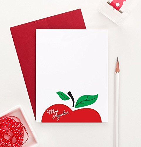 Apple Personalized Note Cards, Personalized Teacher stationery, Personalized Teachers Gifts, Personalized Gift for Teachers, Your Choice of Colors, Set of 10 flat note cards and envelopes (Personalized Stationery For Teachers)