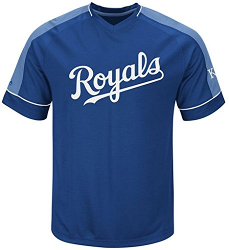 Majestic Kansas City Royals MLB Mens Lead Hitter Jersey Royal Big & Tall Sizes - Blue Therma Base Royal