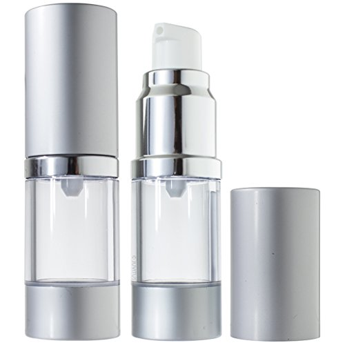 Airless Pump Bottle Refillable Travel Container - 10 ml / 0.34 oz (2 Pack)