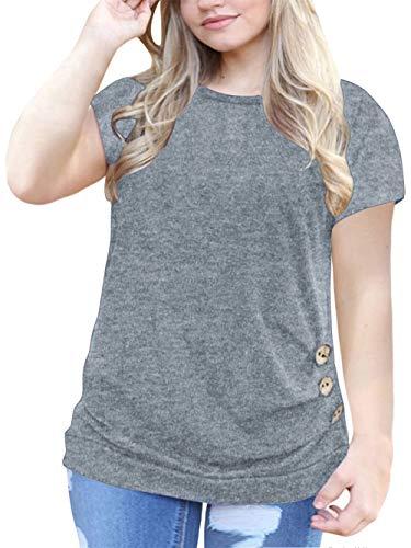 Women's Plus Size Casual Summer Plain Loose Tops T Shirt Blouse Tunics Grey 16W