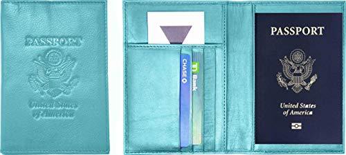 Aqua Cowhide - Genuine Cowhide Leather Aqua Blue RFID-Blocking Passport Cover Case Holder & Wallet