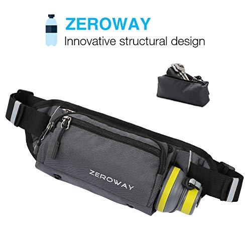 Zeroway Fanny Pack with Water Bottle Holder - Waterproof Running Belt for Men Women - Includes Detachable Zipper Pockets