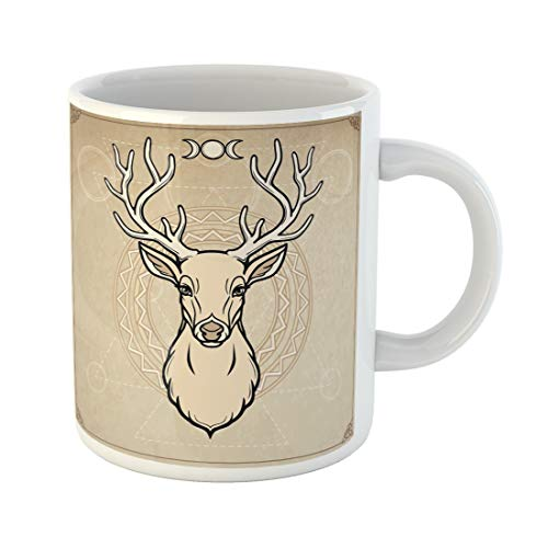 Emvency Funny Coffee Mug Animation Portrait of Horned Deer Spirit the Wood Pagan Deity Imitation Old 11 Oz Ceramic Coffee Mug Tea Cup Best Gift Or Souvenir ()