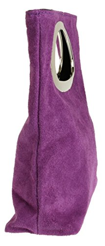 Purple Italian Suede Light HandBags Girly Genuine Handbag Girly HandBags 48Ufaa