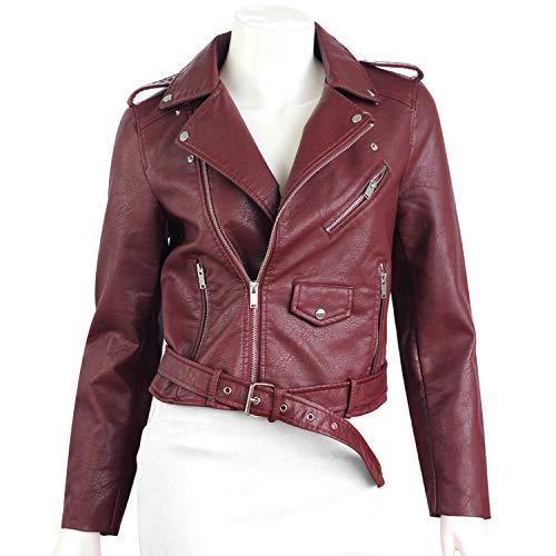 Pragmaticv Artificial Leather Jackets Autumn Street Short Washed PU Jacket Zipper Basic Jackets Slim Fit Women Coats Outwear Dark Red