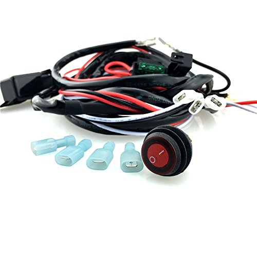 Shiwaki Wiring Harness Kit Loom Fuse Relay On/Off Switch For LED Driving Light Bar: