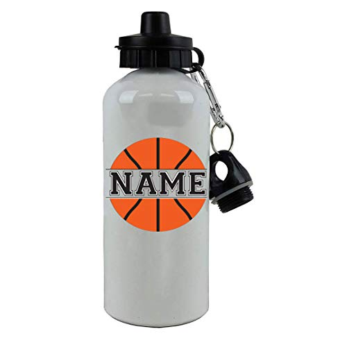 Personalized Custom Add Your Name - Basketball Aluminum White Finish 20 Ounce Sport Water Bottle, 2 Lids Customizable