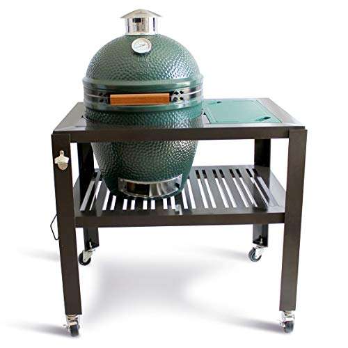 SmokeWare Table for a Large Big Green Egg - with Wheels (Cutting Board Color, Green)