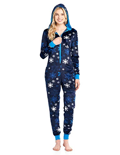 (Ashford & Brooks Women's Mink Fleece Hooded One Piece Pajama Jumpsuit - Navy Frozen Sowflake -)