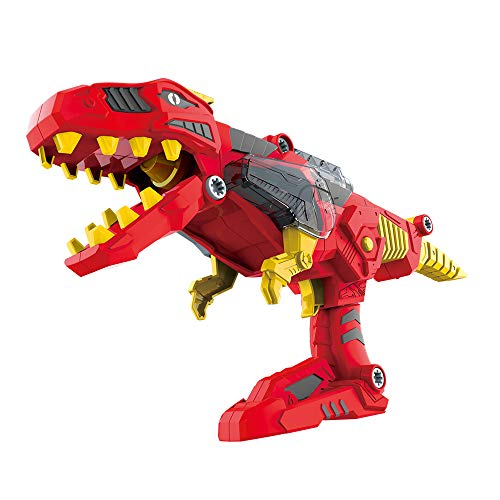 (CoolToys 17 Pc Dino Morpher with Exciting Lights & Lively Sound Effects| Super Transformation Set with Electric Drill- Red)