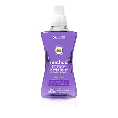 Mighty Concentrated Liquid (Method 4x Concentrated Laundry Detergent, Lavender + Cypress, 53.5 Ounce, 66 Loads)