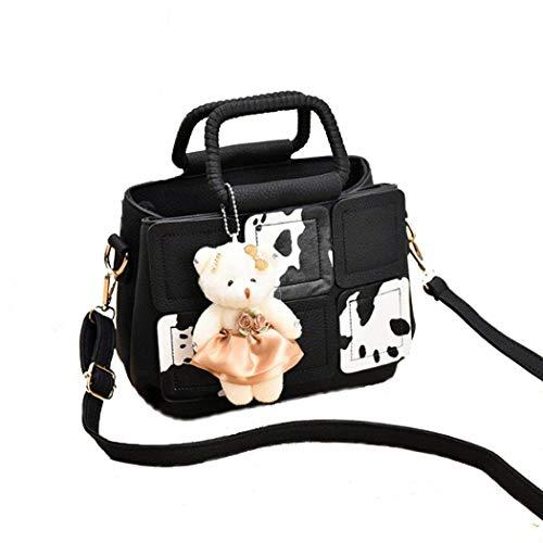 Moontang Borsa a tracolla per borsa a tracolla piccola borsa a tracolla messenger in pelle casual di Gilr (Colore : Nero, Dimensione : -) Nero