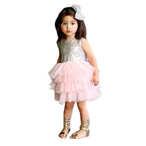 [Dresses ,BeautyVan Baby Flower Girl Sequins Dress Bow Backless Party Gown Formal Bridesmaid Dresses (12M,] (Hair Bows Finger)