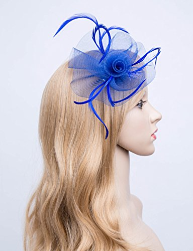 Kathyclassic Fascinator Hats for Women Feather Cocktail Party Hats Bridal Kentucky Derby Headband (Z-Royal Blue) by Kathyclassic (Image #1)