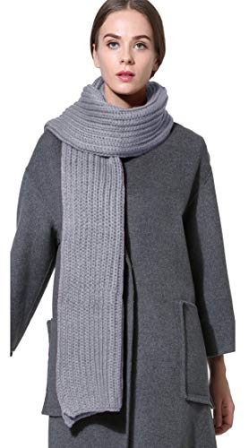 Women Men Winter Thick Cable Knit Wrap Chunky Warm Scarf All Colors Light Grey Hor