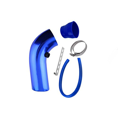 Aluminum Universal Vehicle SUV Truck Car Air Intake Tube Pipe Air-Intake Duct Hose Color 76mm blue 1set: